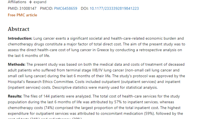 End-of-Life Health-Care Cost of Patients With Lung Cancer: A Retrospective Study