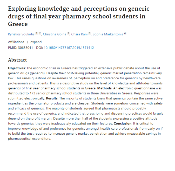 Exploring knowledge and perceptions on generic drugs of final year pharmacy school students in Greece