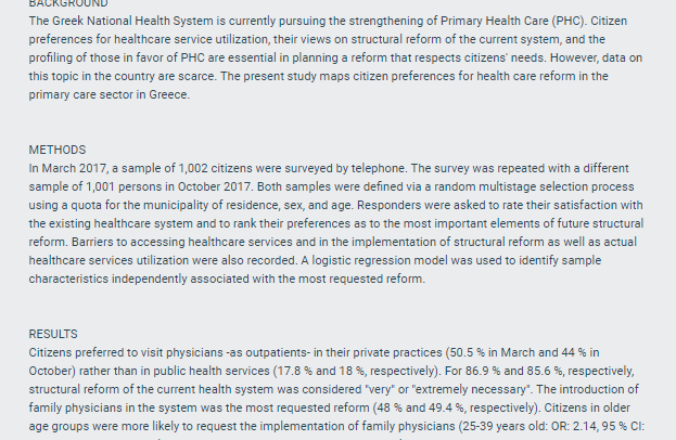 Citizen Preferences for Primary Health Care reform in Greece