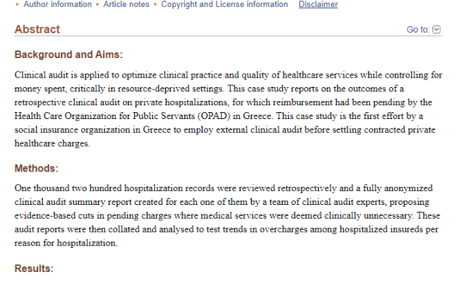 Clinical audit as a tool to optimize contracted private healthcare provision: Testing the waters in resource-deprived Greece