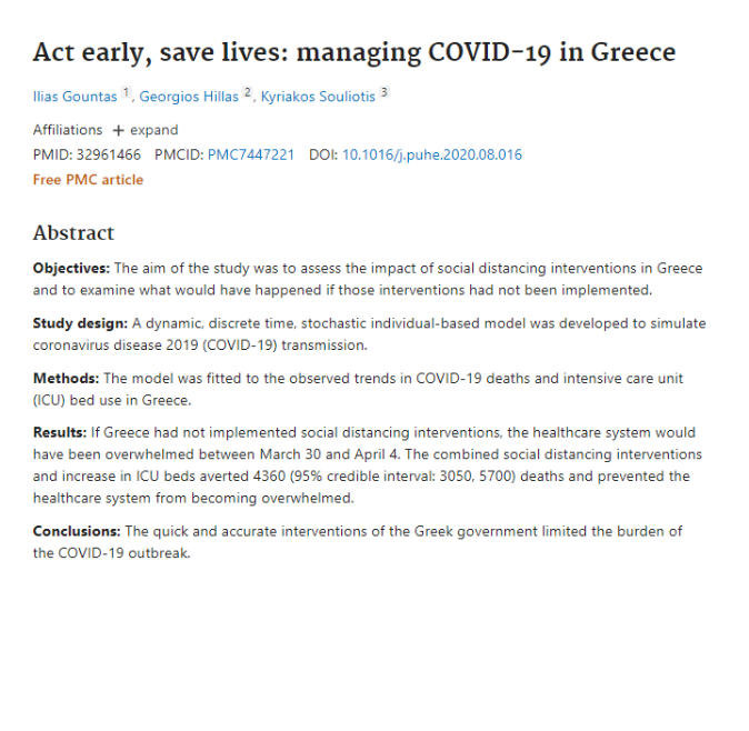 Act early, save lives: managing COVID-19 in Greece