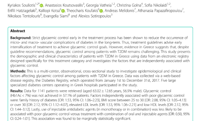 Profile and factors associated with glycaemic control of patients with type 2 diabetes in Greece: results from the diabetes registry