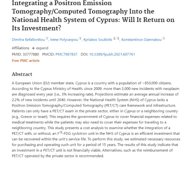 Integrating a Positron Emission Tomography/Computed Tomography Into the National Health System of Cyprus: Will It Return on Its Investment?