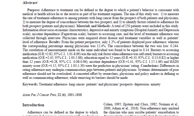 Treatment Adherence in Patients with Lung Cancer from Prospects of Patients and Physicians
